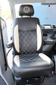 we have just ed these gorgeous vw t5 captain s chairs re upholstered in black and cream leather with bentley stitching and matching cream vw embroidery