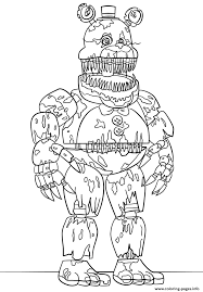 Nightmare Fredbear Scary Fnaf Coloring Pages Printable