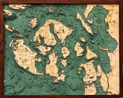 San Juan Islands 3d Nautical Wood Chart 24 5 X 31