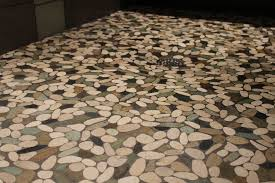 cool pebble tile shower floor with home depot stone mosaic tile and tan subway tile bathroom