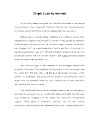 Contract Paper Sample Copy Of Simple Loan Agreement Simple Loan Contract Legal 23