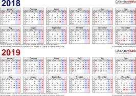 excel 2018 yearly calendar two year calendars for 2018 2019 uk excel unusual 2 calendar