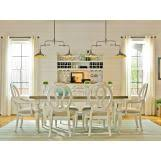 universal furniture summer hill 7pc rectangular leg dining set w woven accent chairs in cotton