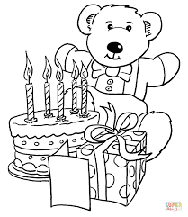 Small Picture Birthday gifts and teddy bear coloring page Free Printable