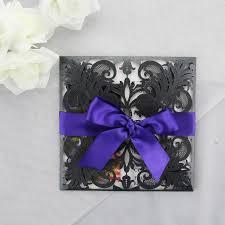 Black And Purple Invitations Black Purple And White Lasercut Wedding Invitations
