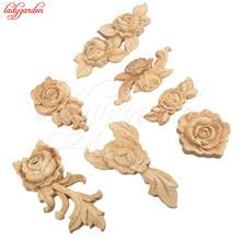 wooden appliques for furniture. 1pc new flower wood carving natural appliques for furniture cabinet unpainted wooden mouldings decal decorative