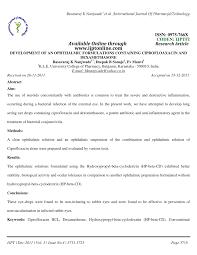 pdf development ofan ophthalmic formulations containing ciprofloaxacin and dexamethasone