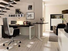 office decoration ideas work. Decorations : Amazing Modern Home Office Design Ideas With Cream Stiped Wood Floor And Rectange Black Painted Computer Desk Combine Comfortable Decoration Work R