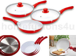 new 5 piece ceramic coated frying pan set red white non stick pyrex glass lid