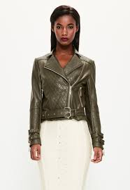 Peace + Love Khaki Faux Leather Quilted Biker Jacket | Missguided & Peace + Love Khaki Faux Leather Quilted Biker Jacket Adamdwight.com