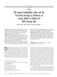 Pdf The Speech Intelligibility Index And The Pure Tone