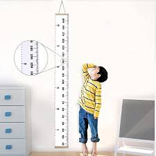 Canvas Height Chart Jeteven Kids Growth Chart Hanging Ruler Roll Up Wood Frame