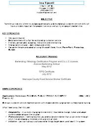 Culinary Resume Examples Cv Cover Letter Bartender Example Execut