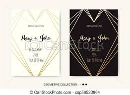 Wedding Invitation Invite Card Design With Geometrical Art Lines Gold Foil Border Frame