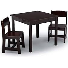 delta children mysize kids wood table and chair set 2 chairs included dark chocolate