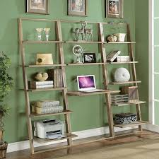 cappuccino 3 piece leaning ladder shelf with laptop desk free green wall wooden glossy floor wooden