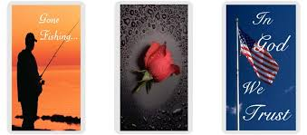 obituary cards can also be customized with a scenic picture and a funeral poem such