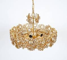 pair palwa crystal glass gold plated brass chandeliers refurbished lamps 1960 for 2