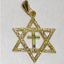 14k gold star of david with cross large
