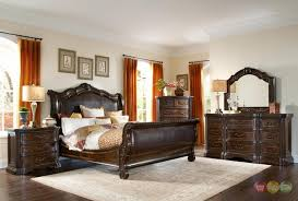 upholstered leather sleigh bed. Brilliant Leather Valencia Traditional Leather Upholstered Sleigh Bedroom Set On Bed R