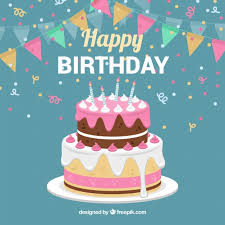 birthday cake background with garland free vector