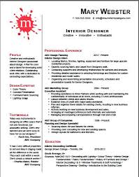 resume for interior design