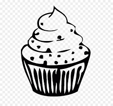 birthday cupcake clip art black and white. Contemporary Black Cupcake Outline Sprinkles Clip Art  Birthday Image With Art Black And White F