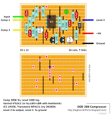 guitar fx layouts 2012 so the ldr resistor would be resistor leads of vtl5c2 and that green led acts as led leads of the vactrol positive anode to strip four and negative cathode
