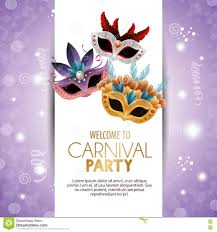 Welcome Purple Welcome Carnival Party Cute Masks With Feathers Bright
