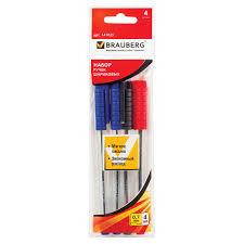 Купить Ручки шариковые <b>BRAUBERG</b>, <b>НАБОР</b> 4 шт., АССОРТИ ...