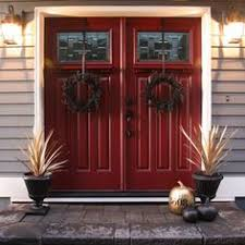 painted double front door. For Fall, Add A Few Small Elements: Painted Pumpkins And Door Wreaths. Double Front P