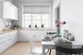 Kitchen Dinner Scandinavian Kitchen White Cabinetry Black Chair Blinds White