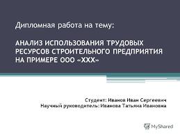 Презентация на тему Дипломная работа на тему АНАЛИЗ  1 Дипломная работа