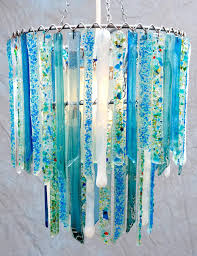 aqua blue chandelier sky and white small handmade recycled glass lamp shades