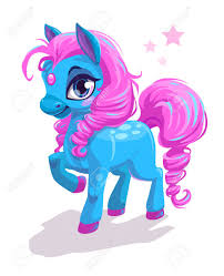 cute cartoon little blue horse with pink hair beautiful pony princess character vector ilration