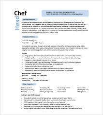 chef resume format