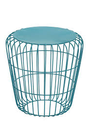 image of uma turquoise metal round wire side table