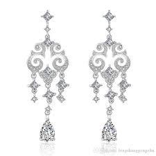 luxury crystal chandelier earrings cubic zirconia wedding earrings silver rose gold 18k gold bridal earrings engagement bridesmaid jewelry wedding earrings