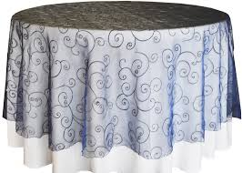 108 round seamless embroidered organza overlay navy blue 95823 1pc pk