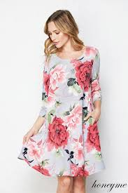 Honeyme Size Chart New Grey Honeyme Floral Tunic Swing Dress With Pockets Size