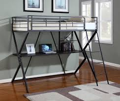 twin metal loft bed with desk
