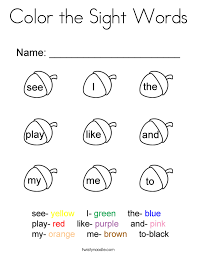 Sight Word Coloring Pages For Kindergarten Murderthestout