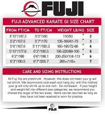 Fuji Gi Size Chart Surprising Fuji Jiu Jitsu Gi Size Chart Judo Chart Gi Sizing