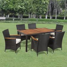 vidaxl outdoor dining set 13 pieces poly rattan wooden top black 1 8