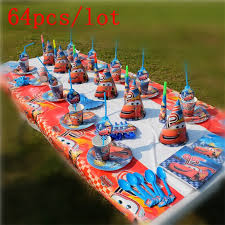 Lightning Mcqueen Birthday Party Us 13 32 27 Off Disney Lightning Mcqueen Cars Theme Design 64pcs Lot Cute Tableware Noise Maker Birthday Party Family Party Decoration Supply In