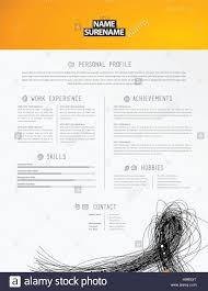 Creative Simple Cv Template With Black Lines In Footer Stock