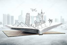open book with abstract drawing of landmarks and sights on city background travel concept 3d rendering photo by peshkov