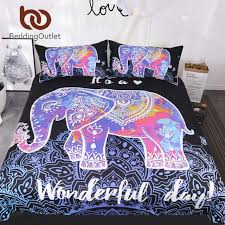 bedding colorful elephant bedding set queen size bohemian duvet cover mandala bed set black animal print