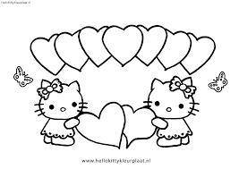 Kleurplaten Hello Kitty Met Hartjes