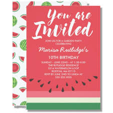 Birthday Invatations Watermelon Summer Birthday Invitation